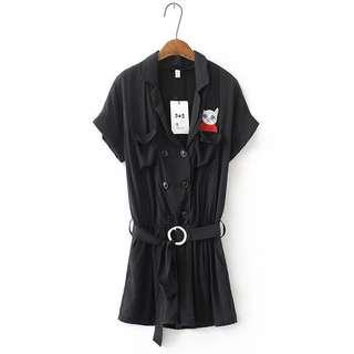 Black Cargo Romper / Jumpsuit #PRECNY60