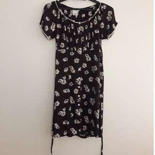 Sonny San Brown Flowery Babydoll Dress
