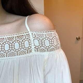Zara cream/white long sleeve off the shoulder top