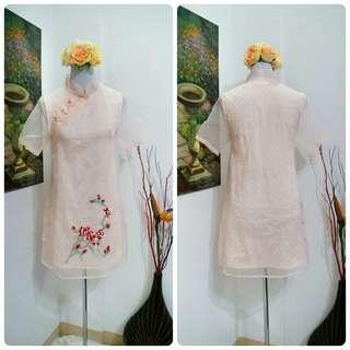 Mandarin Collar Sheer Dress