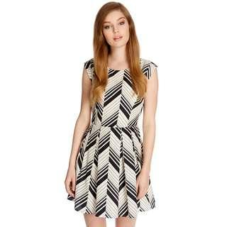 Black White Lines Mini OL Dress
