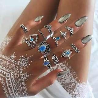 🚚 $7 for 13pcs/set Minimalist Blue Bohemian ring set