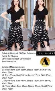 Black polkadot skirt set (JAN19-035)