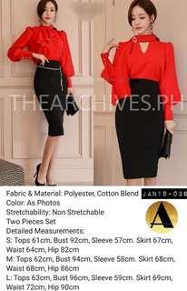 Red Ribbon & Black Skirt Set (JAN19-036)