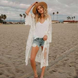 Sale!!!!Long White Lace Breach Cover Up