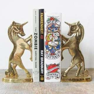 Vintage Brass Unicorn Bookends