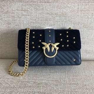 Pinko Velvet and Quilted Leather Bag