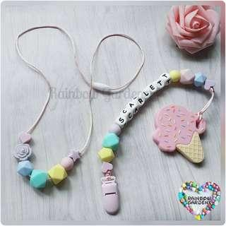Handmade Mummy beads necklace & Pacifier Clip with customisation of name + Pink Ice cream teether