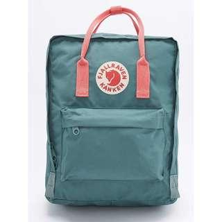 INSTOCK!! FJALLRAVEN CLASSIC KANKEN BACKPACK IN FOREST GREEN WITH PINK HANDLE/PINK WITH NAVY BLUE HANDLE