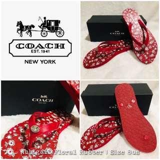 Coach Abbigail Floral Red Flipflops Size 8
