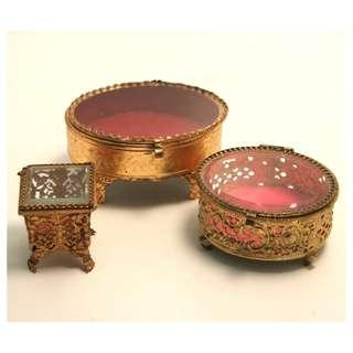 3 Paris Palais Royal Ormolu Jewelry Trinket Boxes