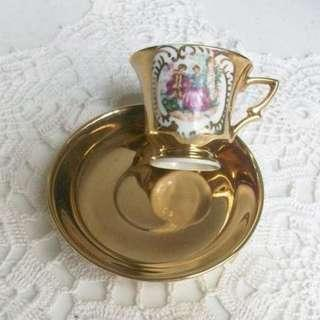 Mini Cup and Saucer Gold High Demitasse