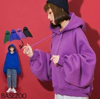 全新!可實拍!紫色。貝思奇大花苞袖子刷毛長袖子連帽厚實帽t微短款 轉售轉賣#衣櫃大掃除