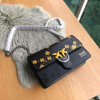 PINKO SCOTCH™ LOVE BAG IN VINTAGE LEATHER Chain Strap Shoulder Bag / Handbag / Crossbody