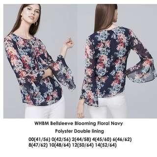 WHBM Bellsleeve Blooming Floral Navy Blouse - Atasan Motif Bunga