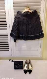 🚚 我的法式優雅 蕾絲百摺裙 毛料 全新吊牌還在 法國灰    上班 正式場合