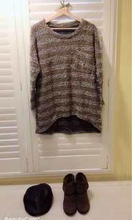 🚚 我的小巴黎 法國古典灰綠色 條紋毛料 前長後短毛衣   古著風 文青風 全新