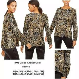 H&M Crepe Anchor Gold Blouse