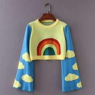 Rainbow Knit Crop Sweater