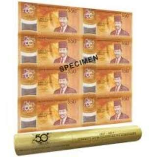 CIA BN02 SG BRUNEI 8 IN 1 SEALED AND UNCUT COMMEMORATIVE NOTES