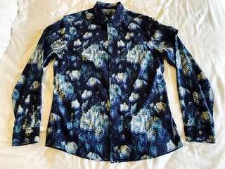 Paul Smith Navy Floral Slim Fit Shirt