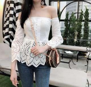 Off Shoulder Crochet Lace Batwing Sleeves Peplum Blouse in White