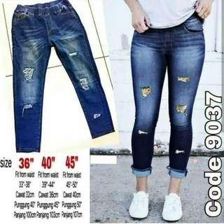 5bf07221060af PLUS SIZE Distressed Ripped Slim Cut Jeans