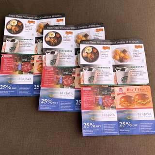 Berjaya Privileged offers. 6 vouchers in one set