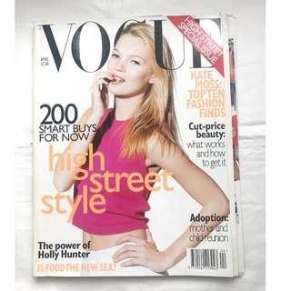 """【1996年4月號 UK VOGUE 】 超模Kate Moss封面 """"High Street Style"""" -懷舊時裝雜誌珍藏"""