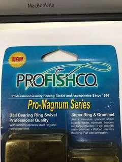 PROFISHCO Pro-Magnum Series- Professional Fishing Ball Bearing Ring Swivel + Super Ring & Grommet Set - PMR8 (550 LBS)
