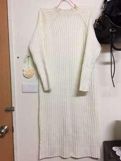🚚 小立領修身針織長版洋裝