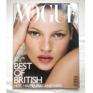 """【1998年6月號 UK VOGUE 】 超模Kate Moss封面 """"Best of British"""" -懷舊時裝雜誌珍藏"""