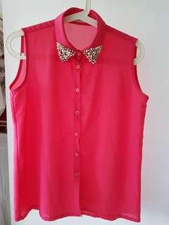 🌹 bom sliver pearl beads Chiffon Top hot pink