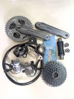 Used Bicycle Components - Shimano 3 X 9 Speed Groupset