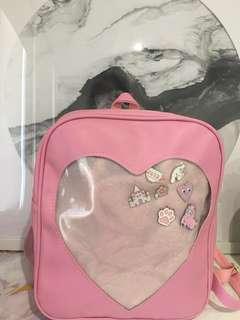 Pink heart ita bag