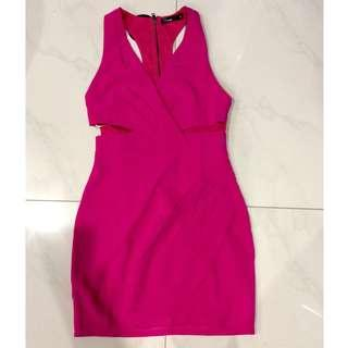 Fuschia Hot Pink Party Cocktail Dress in Size 10 M