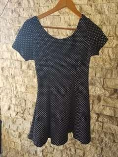 Polka dot navy blue dress