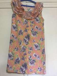 Peach Floral Shift Dress (Made in Korea)