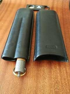 COACH Black Leather Twin Tube Cigar Holder
