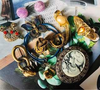 🚚 古董飾品 別針/項鍊/胸針/夾式耳環/絲巾夾 請詢價