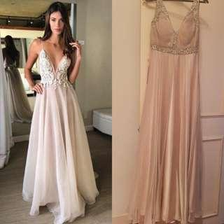Marry Merry champagne color evening Gown