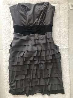 🚚 BN H&M Grey Bow Ruffled Tube Dress EUR32!
