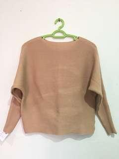 Brown Knitted Crop Top