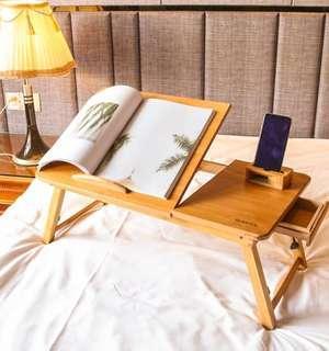 床上收納可摺桌 迷你床上桌 wood table on the bed