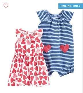 🚚 BN Carters Baby Girl 2 Piece Dress Romper Set! 6mths & 12mths avail!