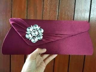 [FREE DELIVERY]: Purple satin clutch dinner bag with stones