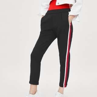 ZARA TRAFALUC black/red/white stripe jogger lounge pants S (AU 10)