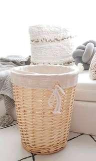 Woven rattan storage basket with cotton linen