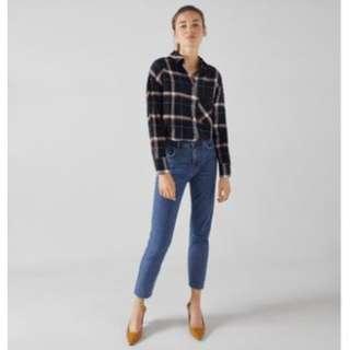 Bershka Denim Straight Cropped Jeans