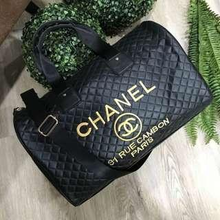 ⚡PO SALE⚡ Chanel VIP Gift Quilted Duffel Bag Gold Embroidery ASC3284 + FREE Post!